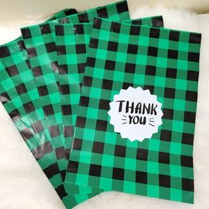 Thank You Poly Mailers Green Plaid